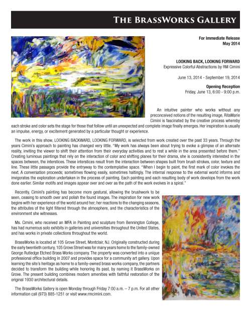 BrassWorks Gallery Press Release Cimini